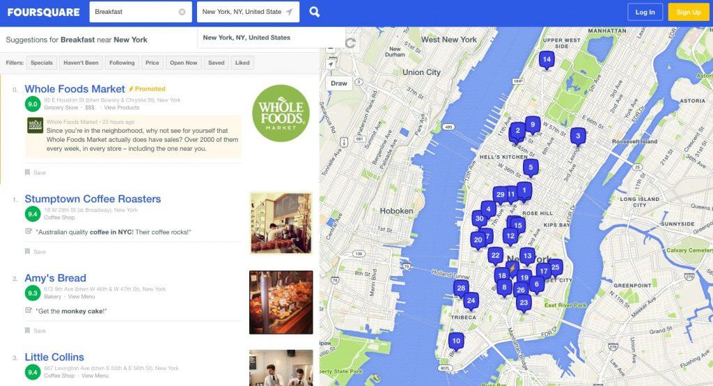 foursquare travel app